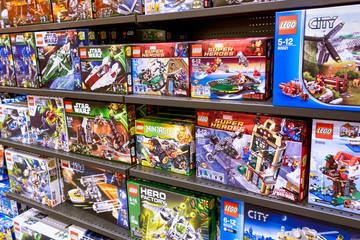 Paphos, Cyprus - December 08, 2013 Lego boxes on shelves.