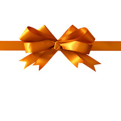 Gold gift ribbon bow straight horizontal isolated on white background