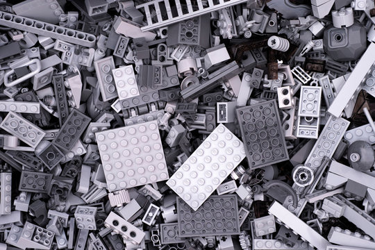 Tambov, Russian Federation - July 12, 2016 Background of gray Lego blocks, bricks and pieces.