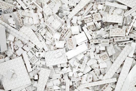 Tambov, Russian Federation - July 12, 2016 Background of white Lego blocks, bricks and pieces. Studio shot.