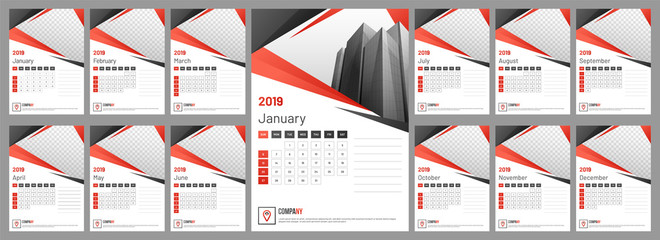 Yearly calendar or organizer design for 2019 with space for your image.