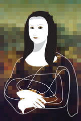 Mona Lisa mix media art. Style graphic design, pixel and line art Vector illustration.
