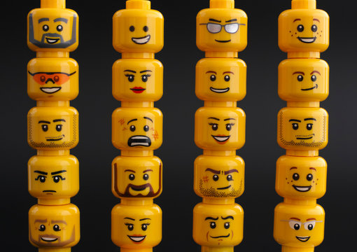 Tambov, Russian Federation - March 24, 2015 Lego figure heads on black background.
