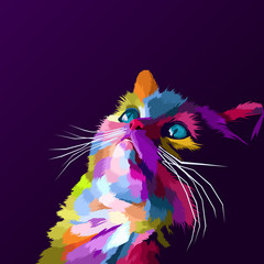 colorful cat pop art portrait vector