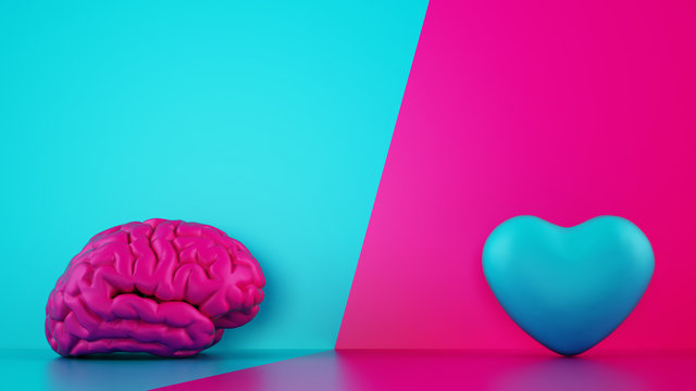 Comparison between reason and feeling. Brain and heart on a two tone background. 3D Rendering