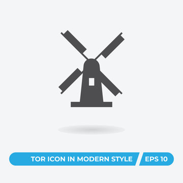 Netherlands windmill vector icon, simple sign for web site and mobile app.