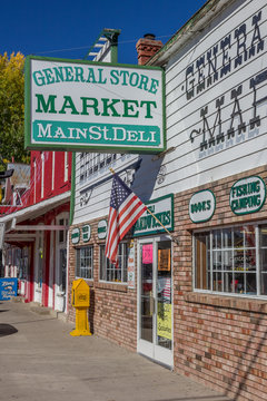 BRIDGEPORT, CA, USA - OCTOBER 11, 2015: Shops at main street Bridgeport, California