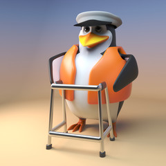 3d cartoon pengun sailor captain walks with a walking frame, 3d illustration