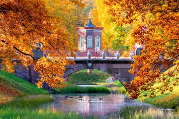 Cross bridge in Alexander park in autumn, Pushkin (Tsarskoe Selo), St. Petersburg, Russia