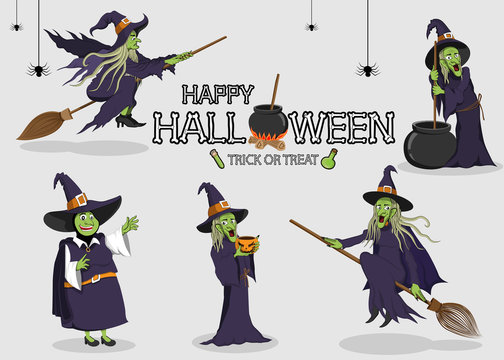 collection set of halloween monster costume Witch