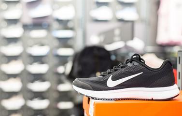 Minsk, Belarus - April 27, 2019: Exposition of nike sport shoes in store