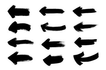 Set of grunge black arrows. Text design element. Hand painted symbol.