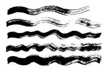 Vector brush stroke. Distressed texture. Isolated black stripes. Grunge design elements.