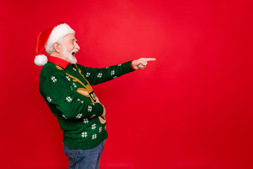 Profile photo of santa man indicating finger to empty space laughing of loser people holding hand...