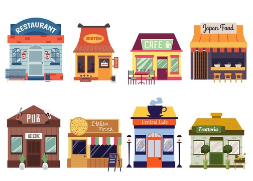 European and Oriental restaurant buildings set of flat vector illustrations.
