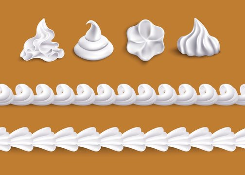 Whipped cream swirl shape topping and horizontal border line shape set