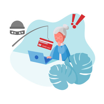 Cyber Thief (Hacker) use Fishing Rod Phishing Credit Card on Computer Laptop from Senior Woman. Scam, Fraud, Phishing Concept. Cartoon Flat Vector Illustration.