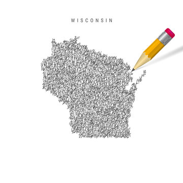 Wisconsin sketch scribble map isolated on white background. Hand drawn vector map of Wisconsin.