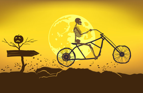 The skeleton rides a motorcycle frame on a bad road to the Halloween.