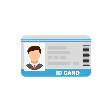 plastic id card with photo in flat