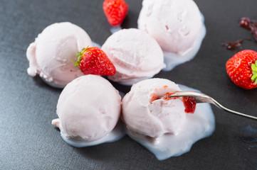 Homemade Organic Strawberry Ice Cream Balls