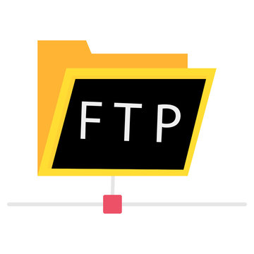 ftp protocol simple icon. concept of software update, router, teamwork tool management, copy process flat design vector