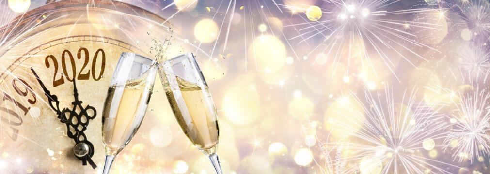 New Year 2020 - Countdown And Toast With Champagne And Clock