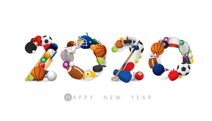 Vector Happy New Year 2020  text design with sports concept isolated on white background.
