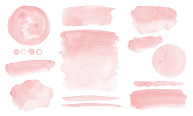 Photo sur Plexiglas Forme Blush pink watercolor stains Paint stropke washes Kit of splashes