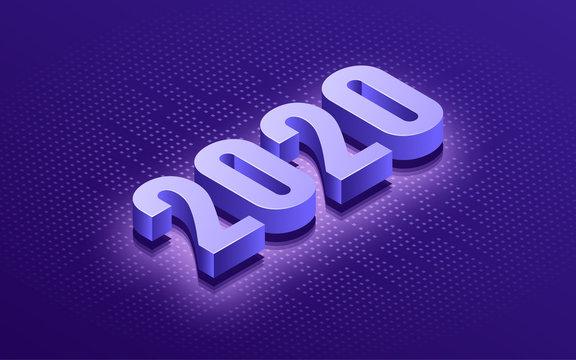 Happy New Year 2020 isometric typographic technology background