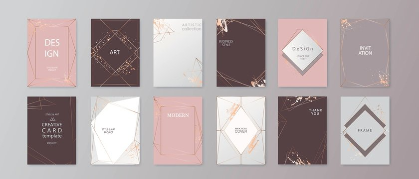 Modern card design. Hand drawn background. Gold, pink brochure, flyer, invitation template. Business identity style. Geometric shape. Vector.