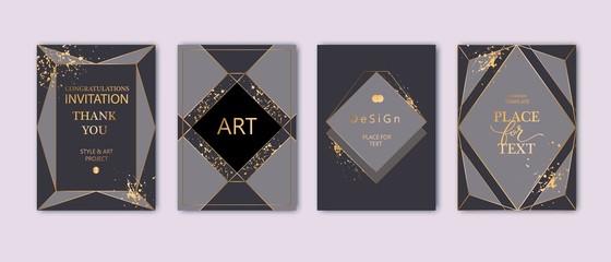 Modern card design. Hand drawn splatters. Gold, black, grey brochure, flyer, invitation template. Business identity style. Geometric shape, artistic frame. Vector. Fototapete