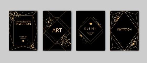 Modern card design. Hand drawn splatters. Gold, black, grey brochure, flyer, invitation template. Business identity style. Geometric shape, artistic frame. Vector.