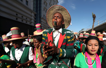 An Ethiopian man from the  Alaba region dances during the Irreecha celebration, the Oromo People thanksgiving ceremony in Addis Ababa