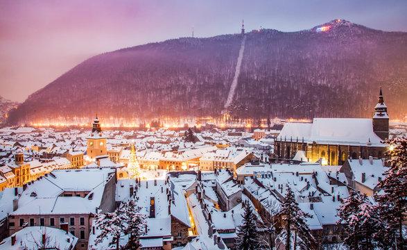 top view over Brasov in winter, Romania