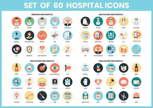 Hospital icons set for business,