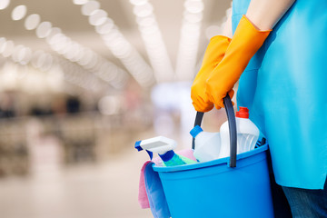 The cleaning lady standing with a bucket and cleaning products .