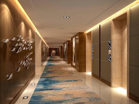 3d render of hotel floor corridor