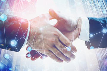 Fotobehang - Handshake of business people, network interface