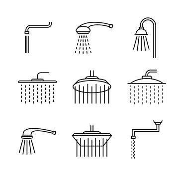 Shower head type icons set. Outline style different shower symbols. Douche shapes. Adjustable line width.