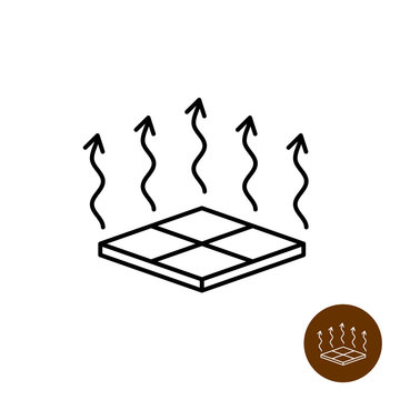Floor heating icon. Warm floor symbol. House interior surface 3D tiles with heat up arrows. Adjustable line width.
