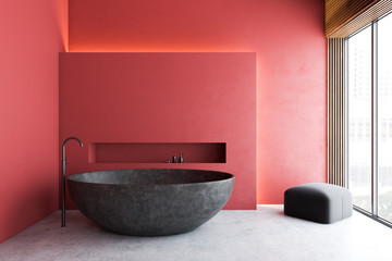 Red minimalistic bathroom with gray tub