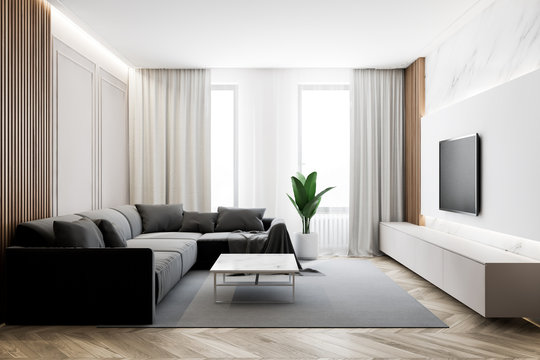 Modern living room with TV and sofa