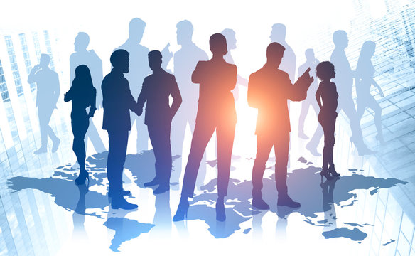 Diverse business team in global world
