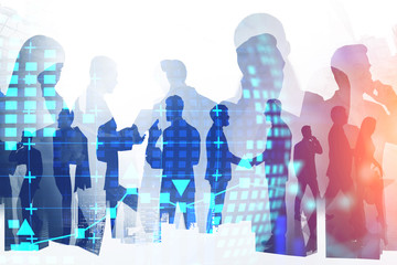 Business people and hi tech company Wall mural
