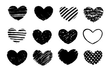 Black grunge textured heart. Hand drawn symbol of love. Vector design element.
