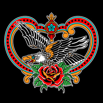 American eagle with rose drawing. T-shirts design in the style of a traditional tattoo.