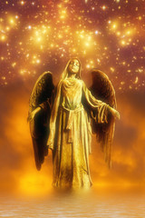 Wall Mural - angel archangel with star light in dreamy mystical spiritual religious concept