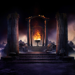 Foto auf Leinwand Schwarz The eternal fire, dark atmospheric landscape with stairs to ancient columns and font of fire, fantasy background