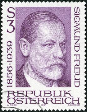 AUSTRIA - 1981: shows portrait of Sigismund Schlomo Sigmund Freud (1856-1939), Psychoanalyst, 1981